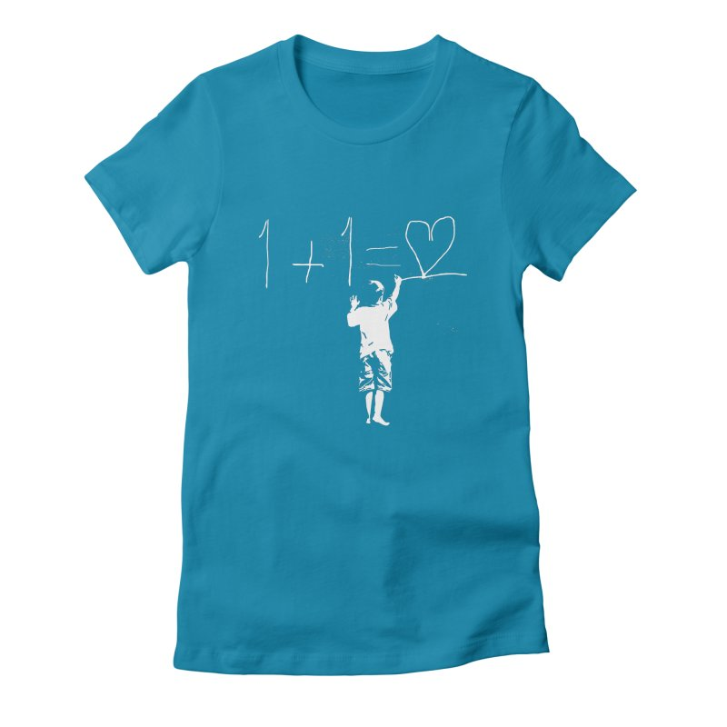 One Plus One Equals Love Women's Fitted T-Shirt by Artrocity's Artist Shop