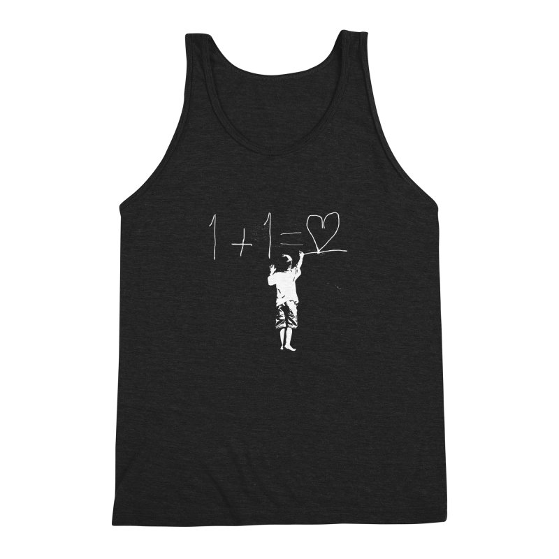 One Plus One Equals Love Men's Triblend Tank by Artrocity's Artist Shop