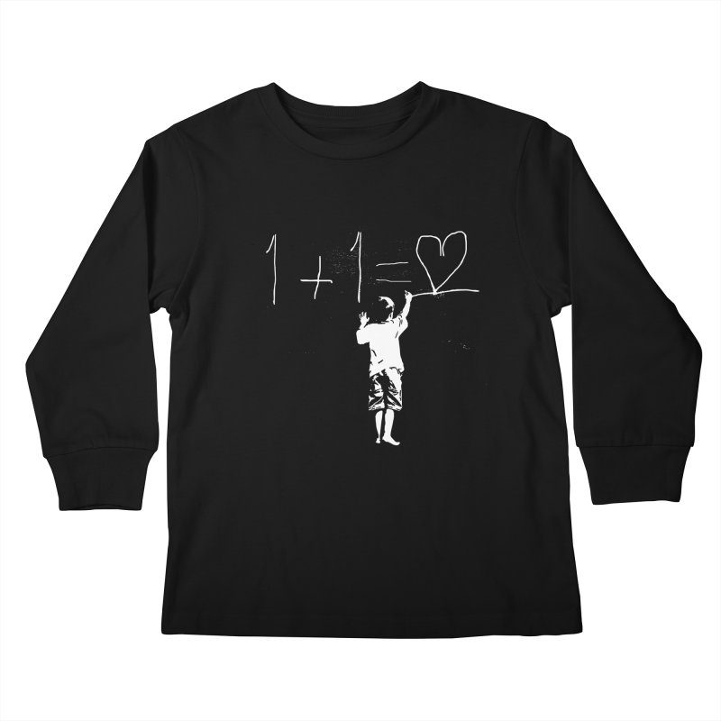 One Plus One Equals Love Kids Longsleeve T-Shirt by Artrocity's Artist Shop