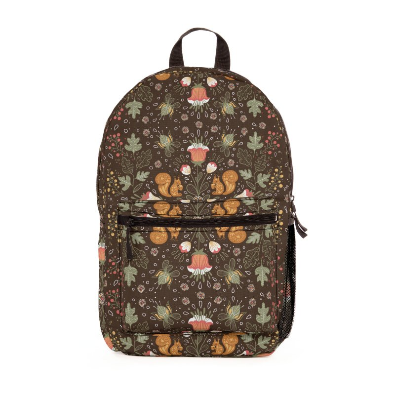 Autumn Squirrel Pattern Accessories Bag by Art Side of Life's Shop