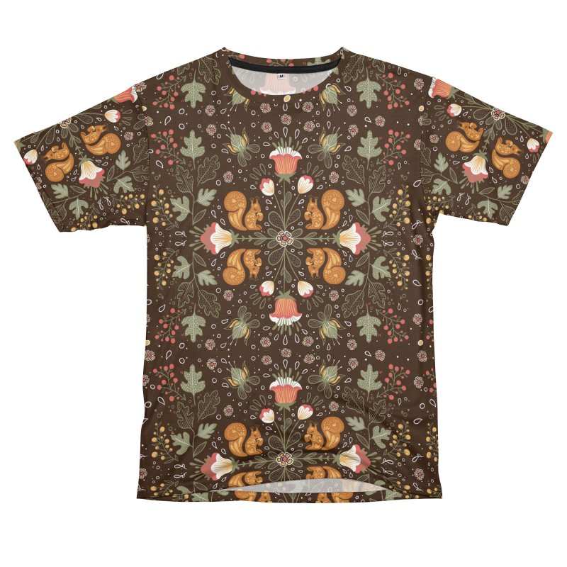 Autumn Squirrel Pattern Men's Cut & Sew by Art Side of Life's Shop