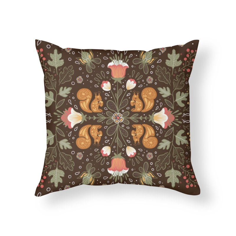 Autumn Squirrel Pattern Home Throw Pillow by Art Side of Life's Shop