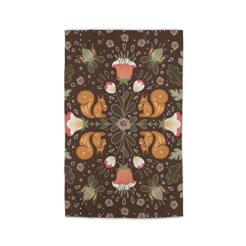 Autumn Squirrel Pattern Home Rug by Art Side of Life's Shop
