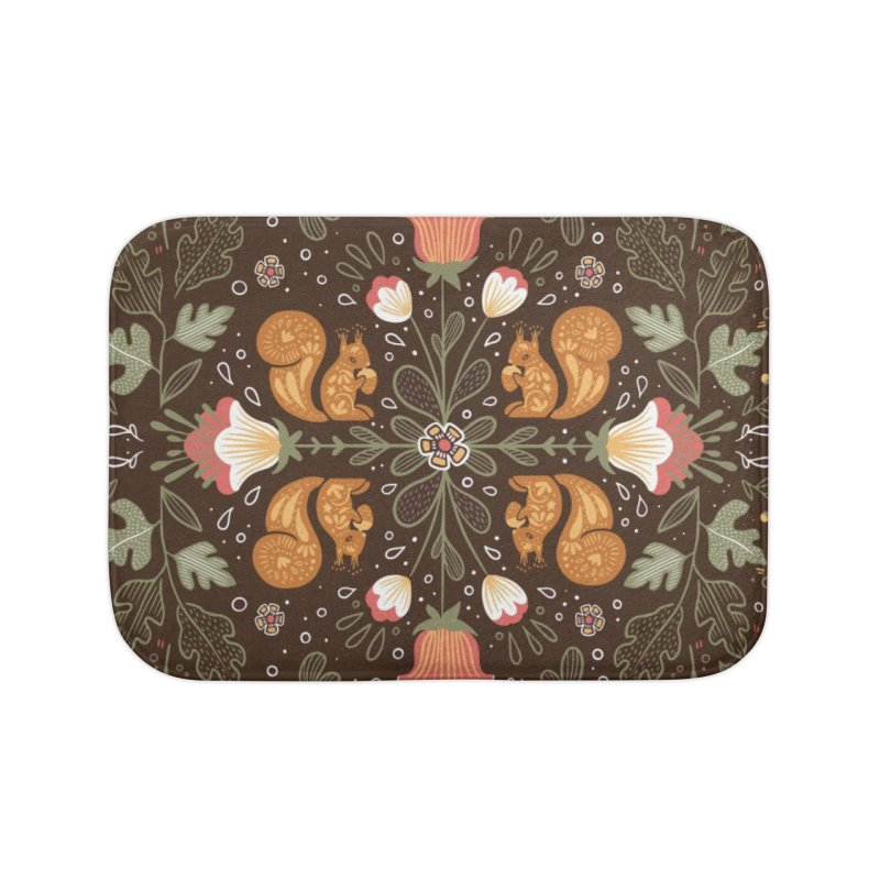 Autumn Squirrel Pattern Home Bath Mat by Art Side of Life's Shop