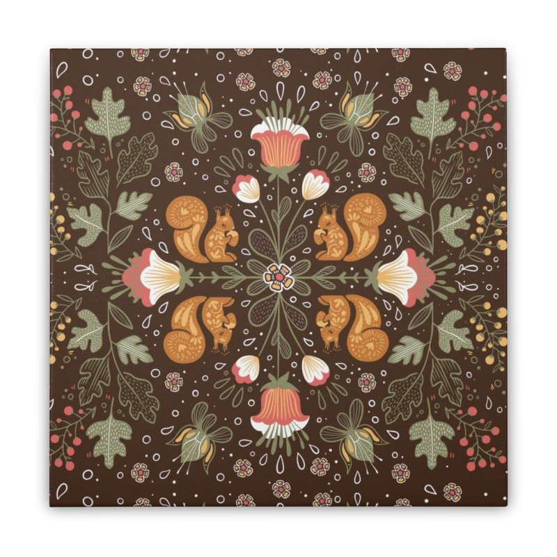 Autumn Squirrel Pattern Home Stretched Canvas by Art Side of Life's Shop