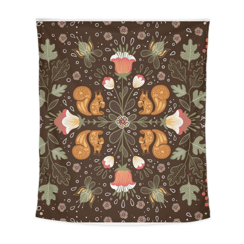Autumn Squirrel Pattern Home Tapestry by Art Side of Life's Shop