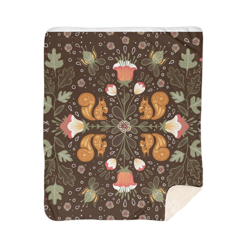 Autumn Squirrel Pattern Home Blanket by Art Side of Life's Shop
