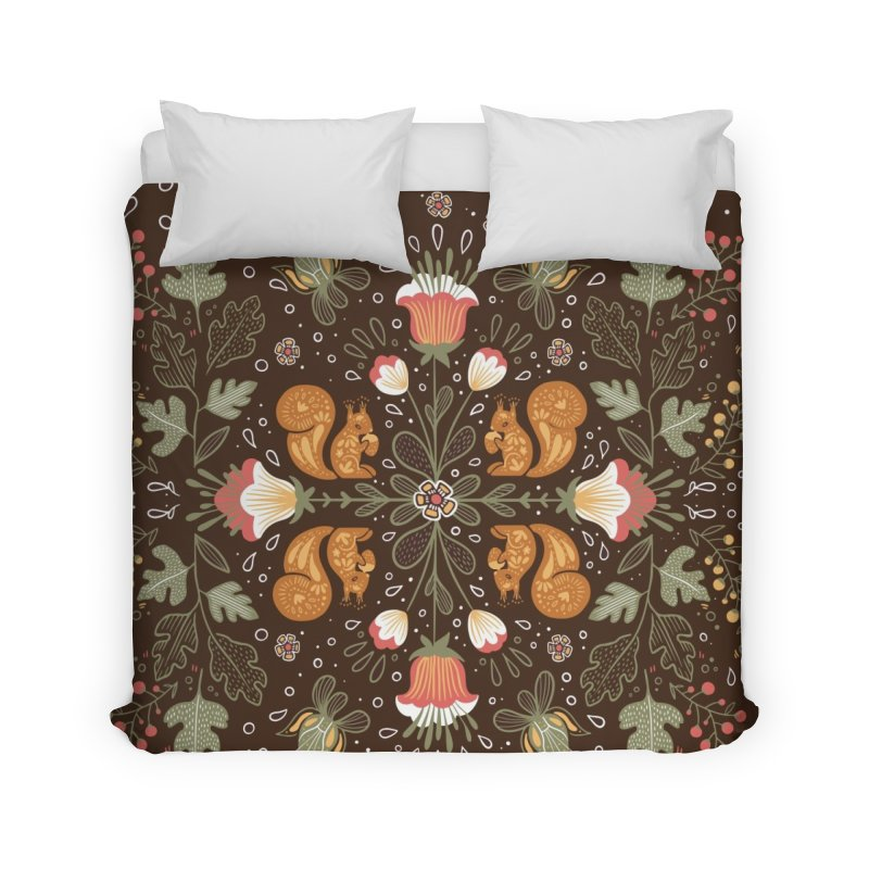 Autumn Squirrel Pattern Home Duvet by Art Side of Life's Shop