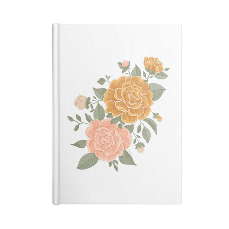 Rose Peony Accessories Notebook by Art Side of Life's Shop