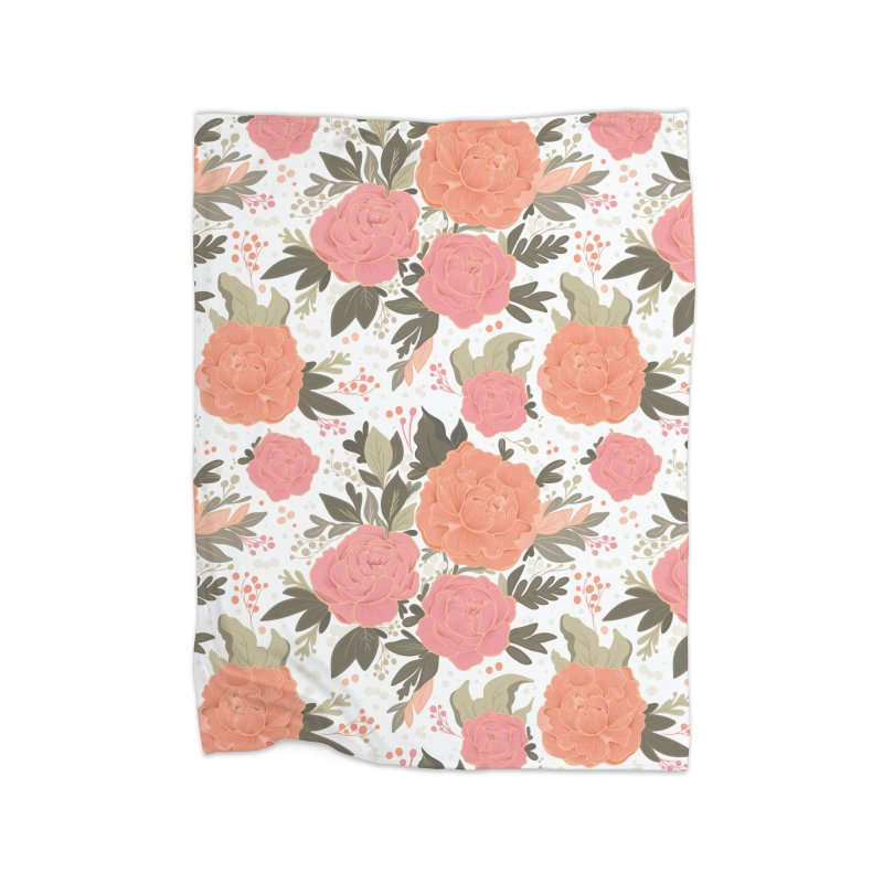 Pink Peony Pattern Home Blanket by Art Side of Life's Shop