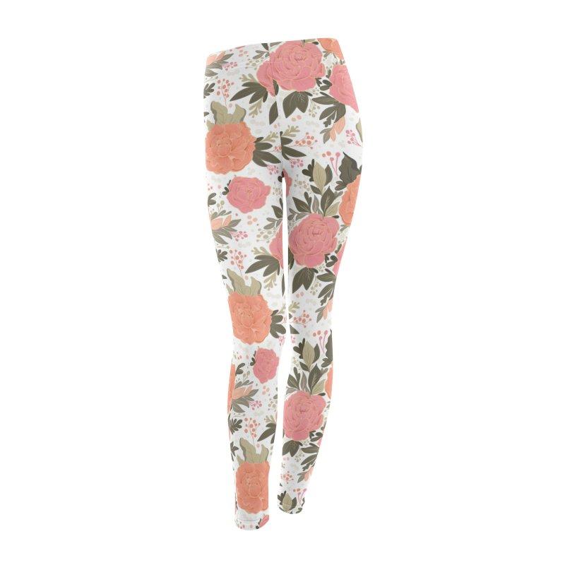 Pink Peony Pattern in Women's Leggings Bottoms by Art Side of Life's Shop
