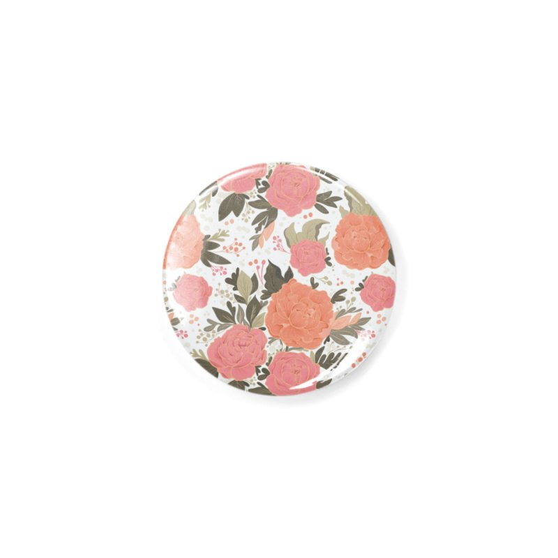 Pink Peony Pattern Accessories Button by Art Side of Life's Shop