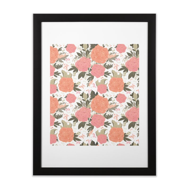 Pink Peony Pattern Home Framed Fine Art Print by Art Side of Life's Shop