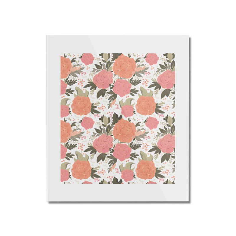 Pink Peony Pattern Home Mounted Acrylic Print by Art Side of Life's Shop