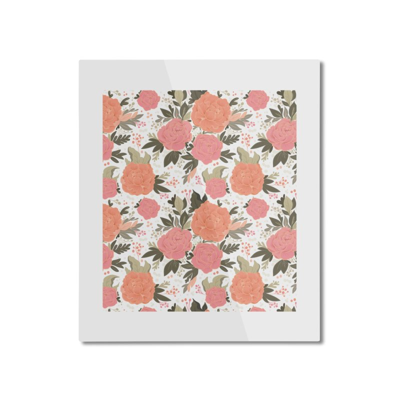 Pink Peony Pattern Home Mounted Aluminum Print by Art Side of Life's Shop