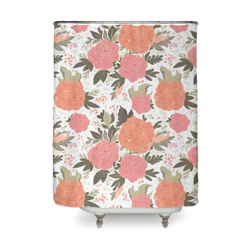 Pink Peony Pattern Home Shower Curtain by Art Side of Life's Shop