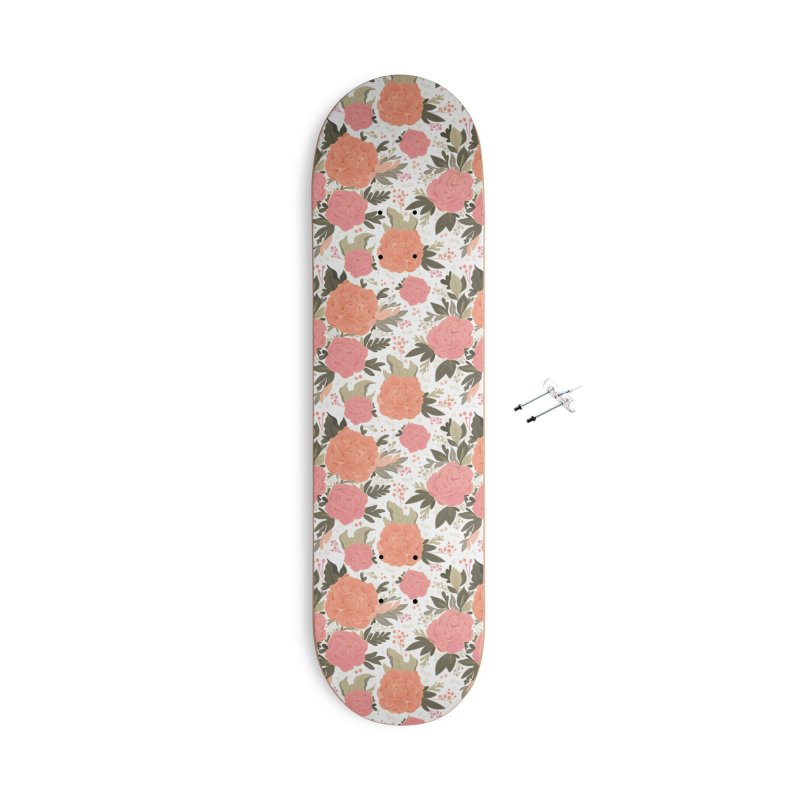 Pink Peony Pattern Accessories Skateboard by Art Side of Life's Shop