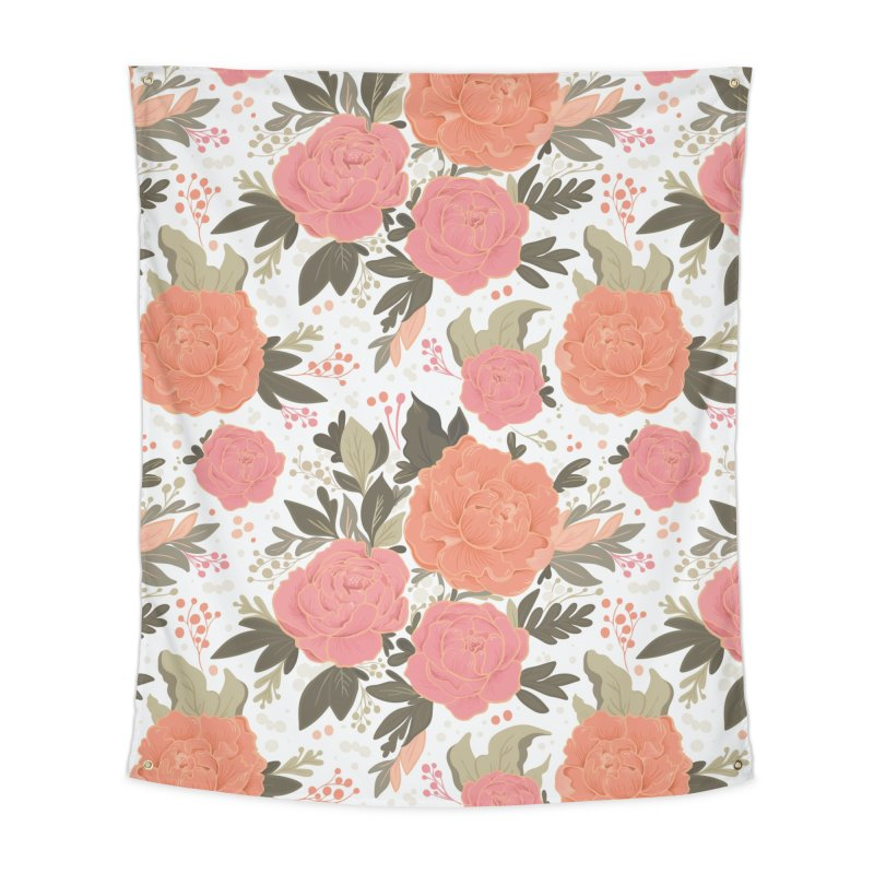 Pink Peony Pattern Home Tapestry by Art Side of Life's Shop