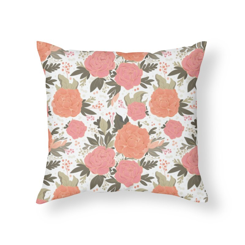Pink Peony Pattern Home Throw Pillow by Art Side of Life's Shop