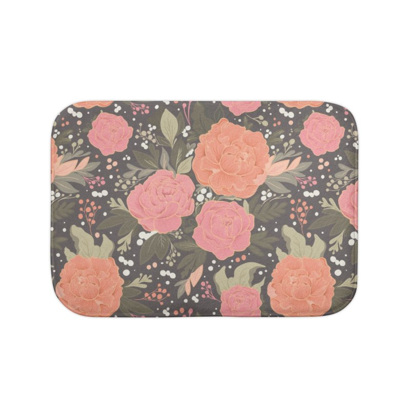 Pink Peony Pattern Dark Home Bath Mat by Art Side of Life's Shop