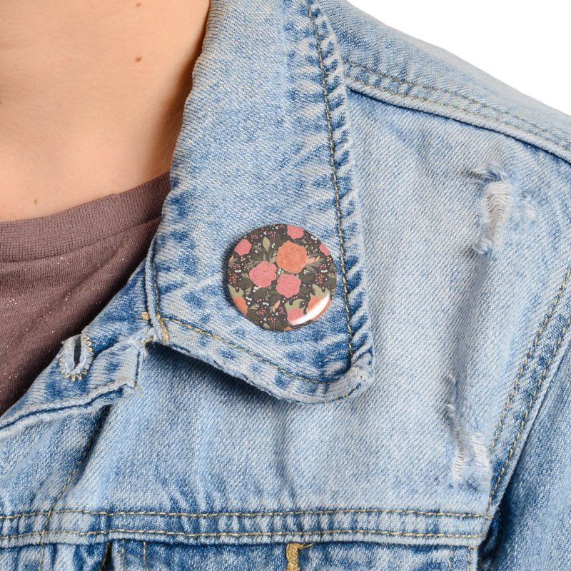 Pink Peony Pattern Dark Accessories Button by Art Side of Life's Shop