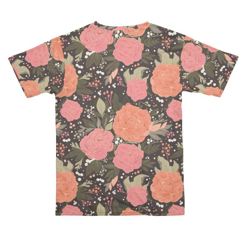 Pink Peony Pattern Dark Men's Cut & Sew by Art Side of Life's Shop