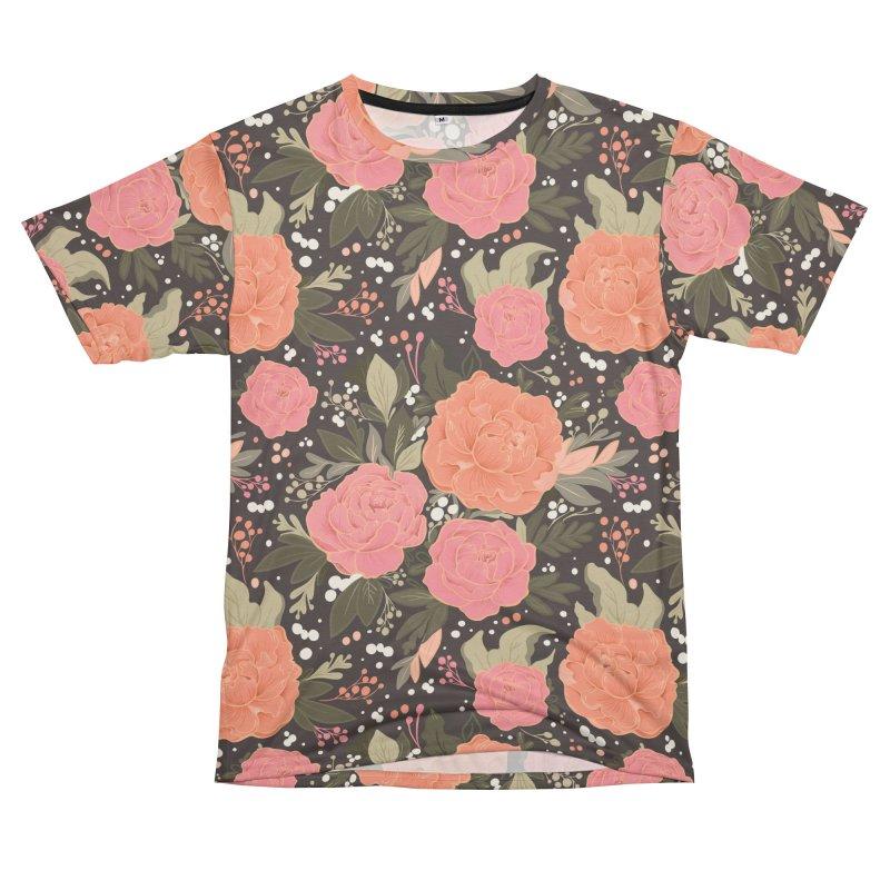 Pink Peony Pattern Dark Women's Cut & Sew by Art Side of Life's Shop