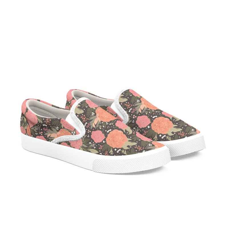 Pink Peony Pattern Dark in Men's Slip-On Shoes by Art Side of Life's Shop
