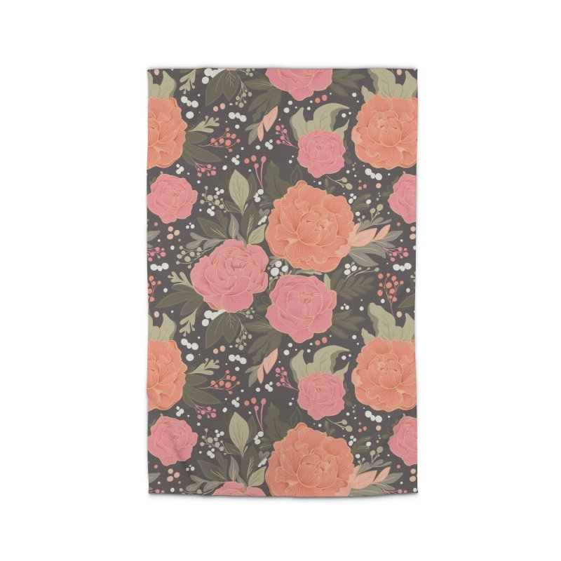 Pink Peony Pattern Dark Home Rug by Art Side of Life's Shop