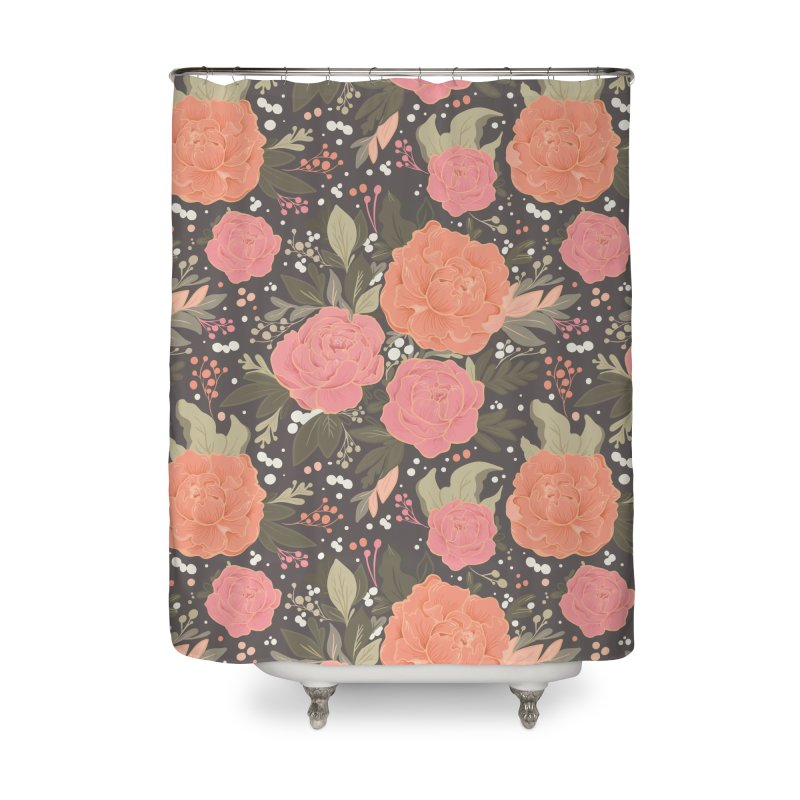 Pink Peony Pattern Dark Home Shower Curtain by Art Side of Life's Shop