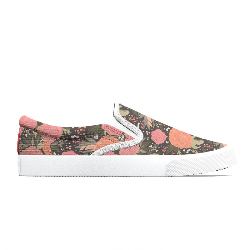 Pink Peony Pattern Dark Men's Shoes by Art Side of Life's Shop