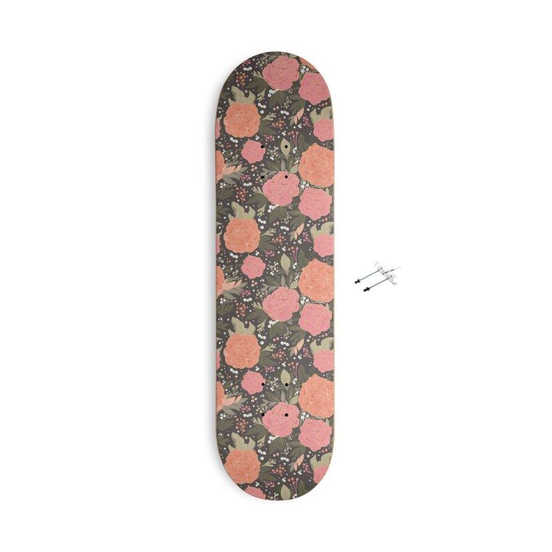 Pink Peony Pattern Dark Accessories Skateboard by Art Side of Life's Shop