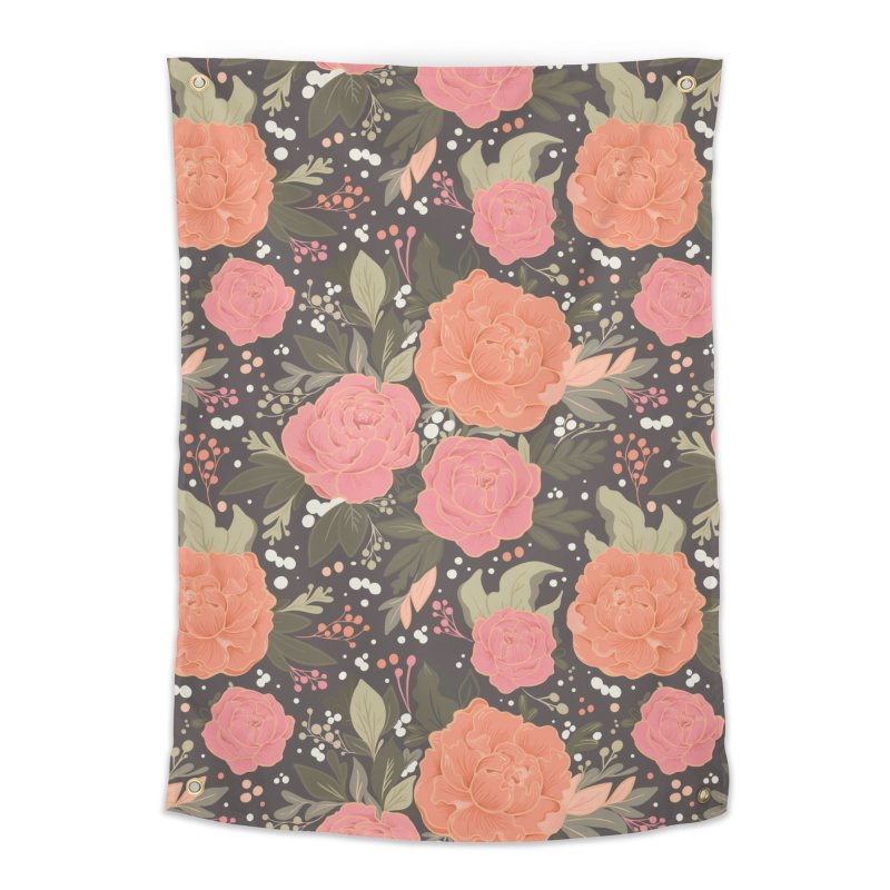 Pink Peony Pattern Dark Home Tapestry by Art Side of Life's Shop