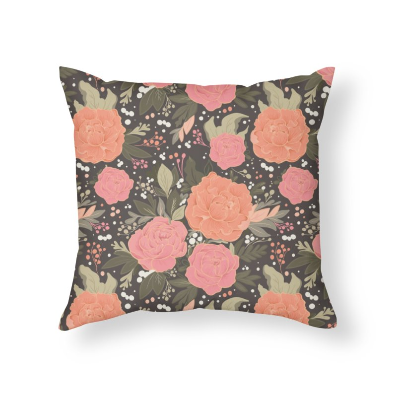 Pink Peony Pattern Dark Home Throw Pillow by Art Side of Life's Shop