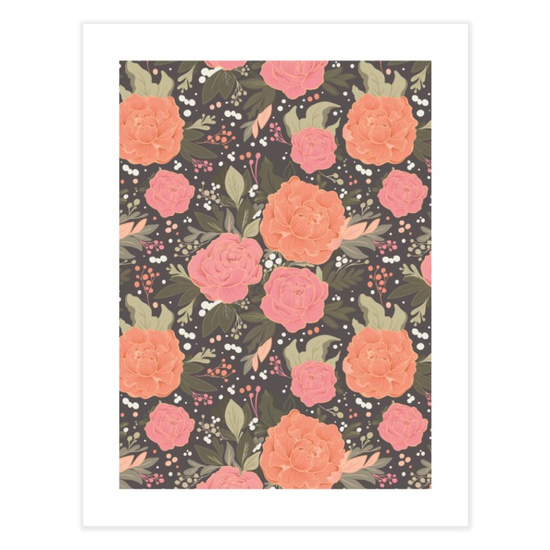 Pink Peony Pattern Dark Home Fine Art Print by Art Side of Life's Shop