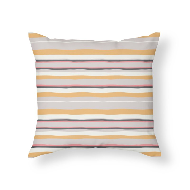 Autumn Stripes Pattern Home Throw Pillow by Art Side of Life's Shop