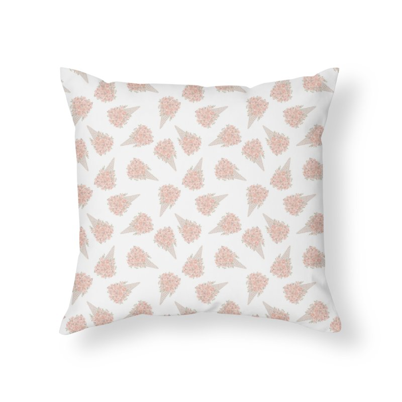 Floral Icecream Home Throw Pillow by Art Side of Life's Shop