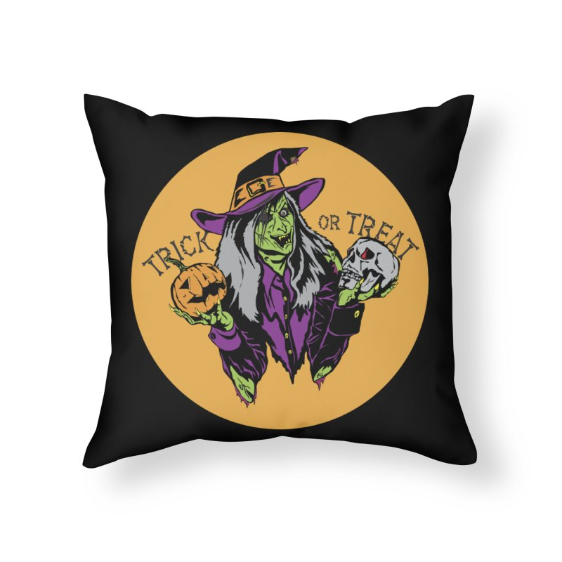 Trick or Treat Home Throw Pillow by ArtSkull's Threadless Shop