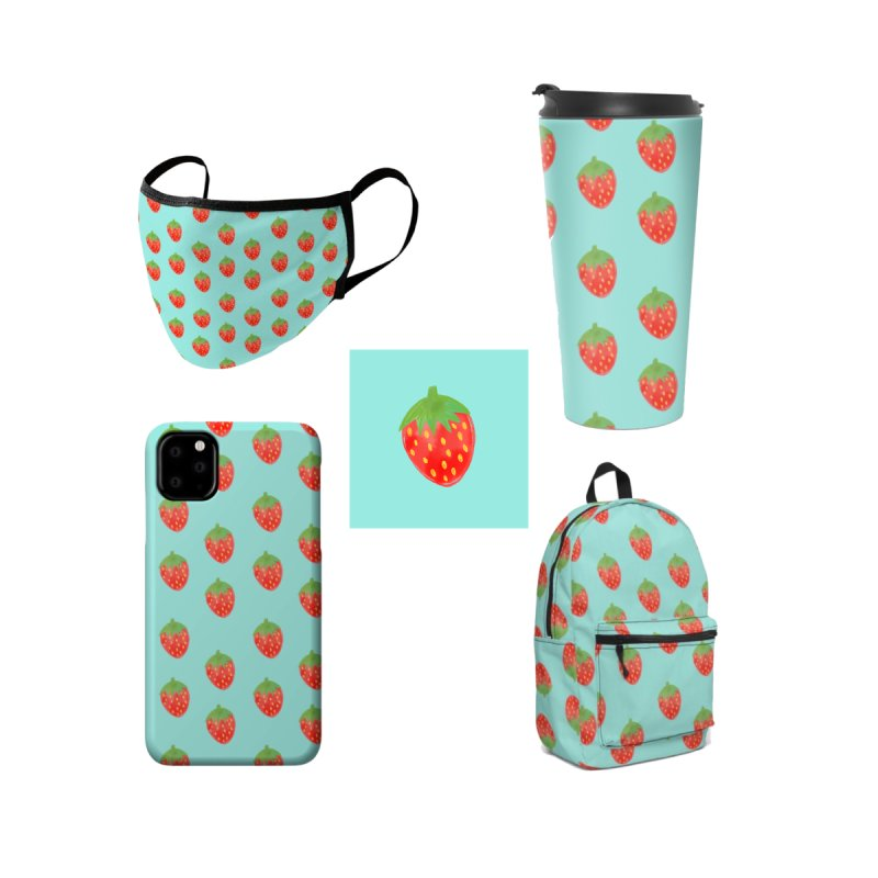 Strawberry Parade Accessories Face Mask by Artsy Blevs