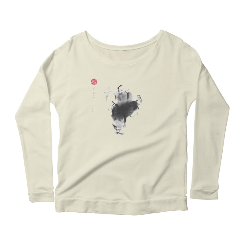 Turn Body And Sweep Lotus With Leg Women's Scoop Neck Longsleeve T-Shirt by arttaichi's Artist Shop