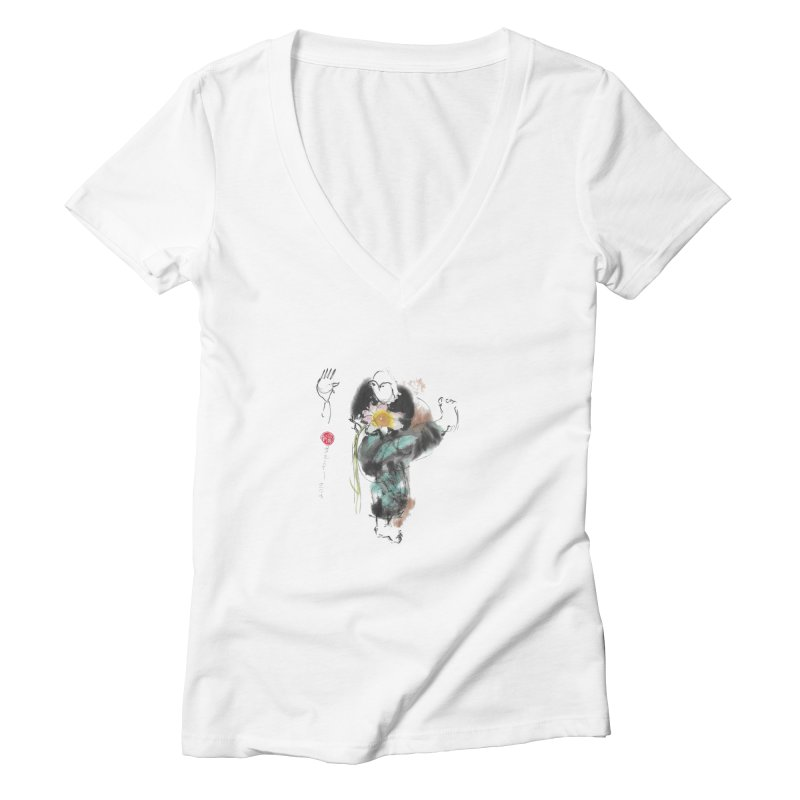 Turn Body And Sweep Lotus With Leg (color version) Women's Deep V-Neck V-Neck by arttaichi's Artist Shop