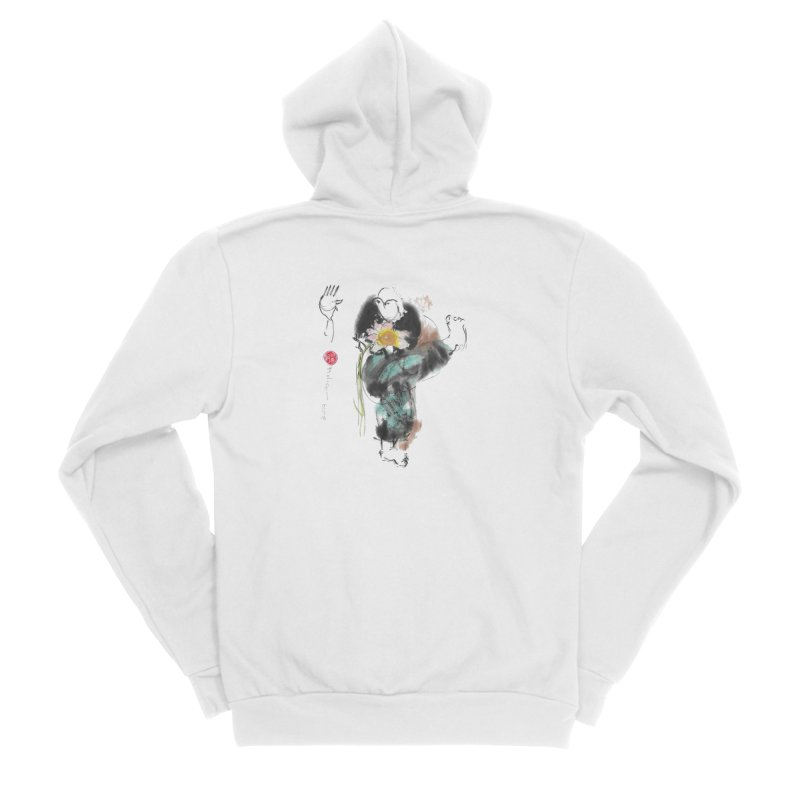 Turn Body And Sweep Lotus With Leg (color version) Women's Sponge Fleece Zip-Up Hoody by arttaichi's Artist Shop