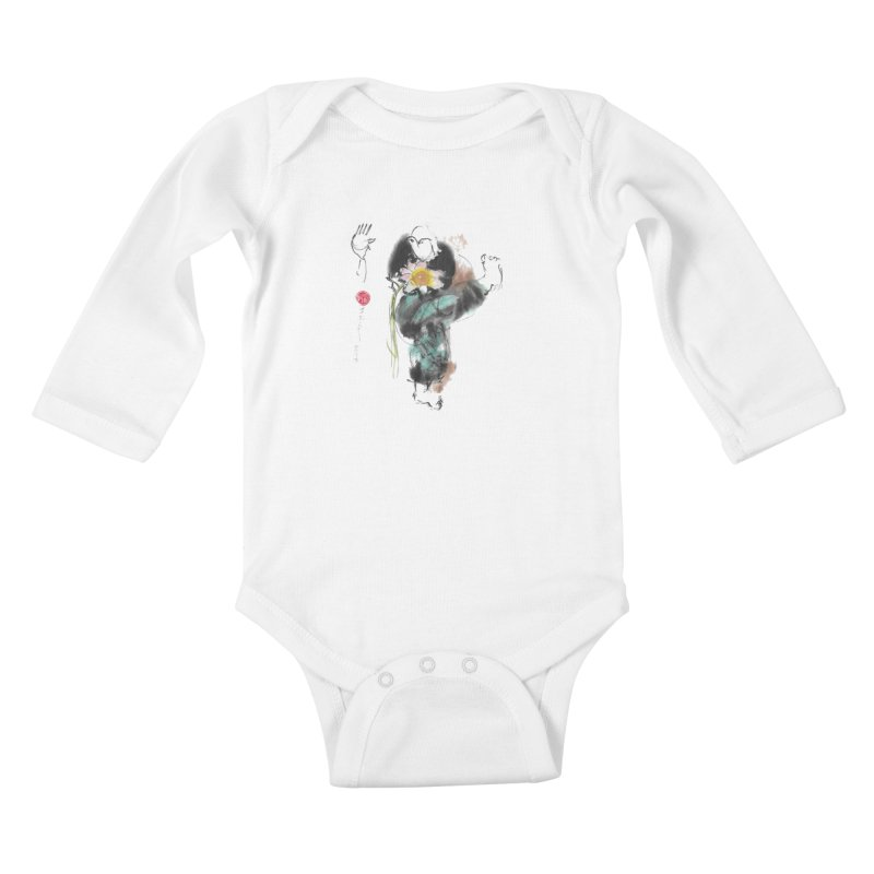 Turn Body And Sweep Lotus With Leg (color version) Kids Baby Longsleeve Bodysuit by arttaichi's Artist Shop