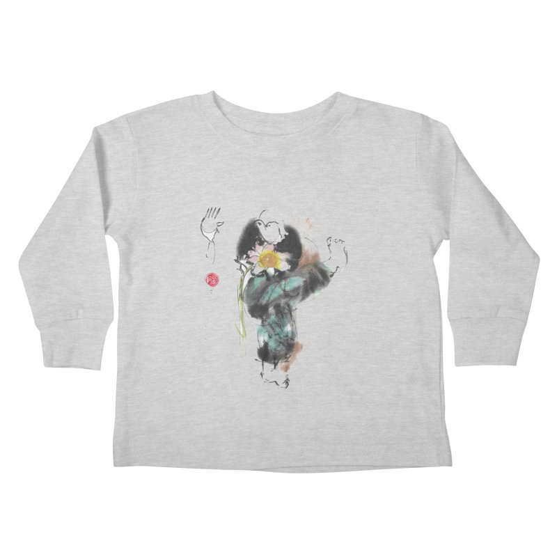 Turn Body And Sweep Lotus With Leg (color version) Kids Toddler Longsleeve T-Shirt by arttaichi's Artist Shop
