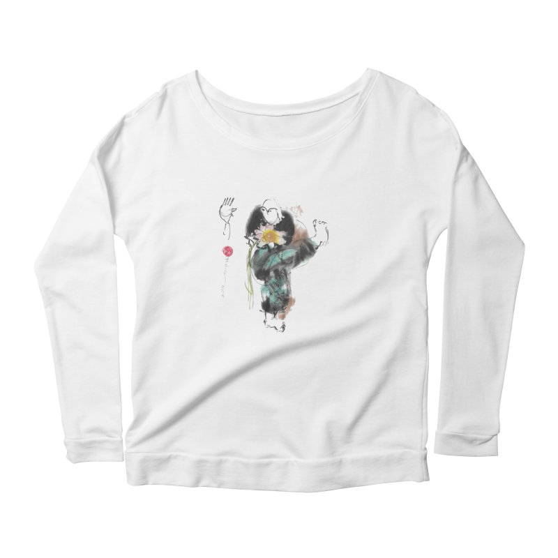 Turn Body And Sweep Lotus With Leg (color version) Women's Scoop Neck Longsleeve T-Shirt by arttaichi's Artist Shop