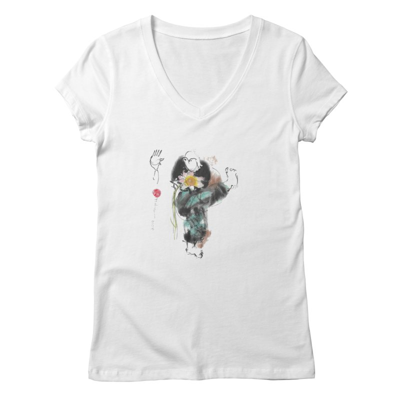 Turn Body And Sweep Lotus With Leg (color version) Women's V-Neck by arttaichi's Artist Shop
