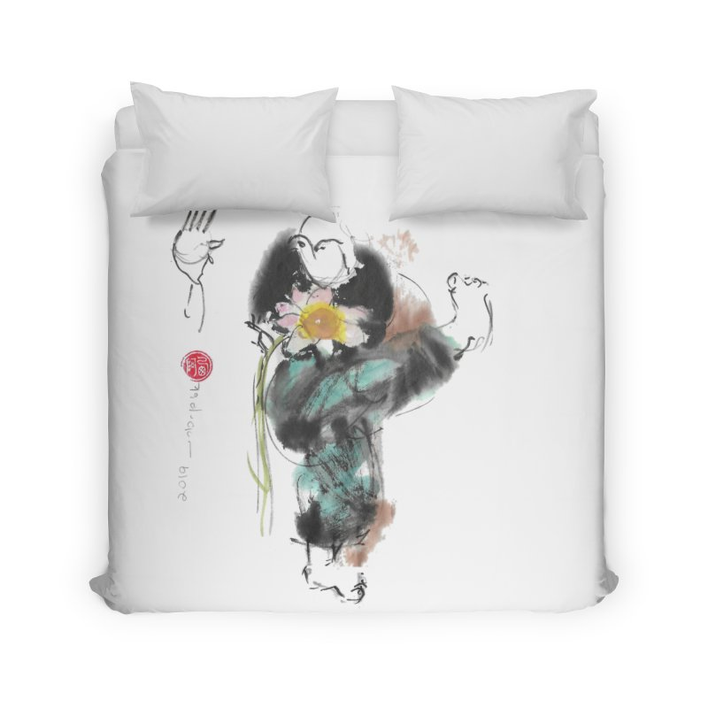 Turn Body And Sweep Lotus With Leg (color version) Home Duvet by arttaichi's Artist Shop