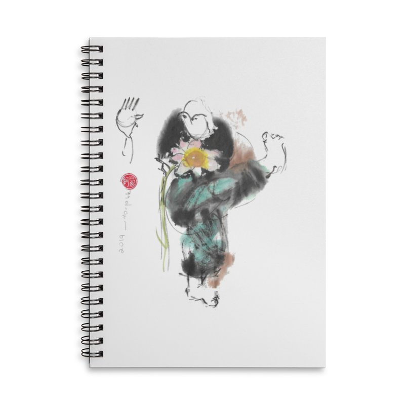 Turn Body And Sweep Lotus With Leg (color version) Accessories Lined Spiral Notebook by arttaichi's Artist Shop