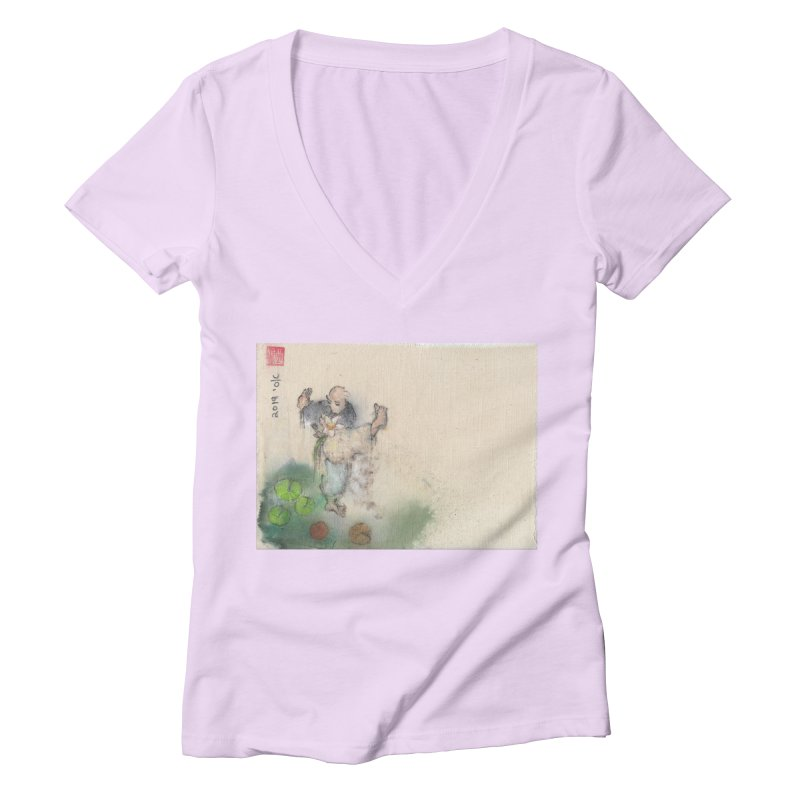 Turn Body And Sweep Lotus With Leg Women's Deep V-Neck V-Neck by arttaichi's Artist Shop