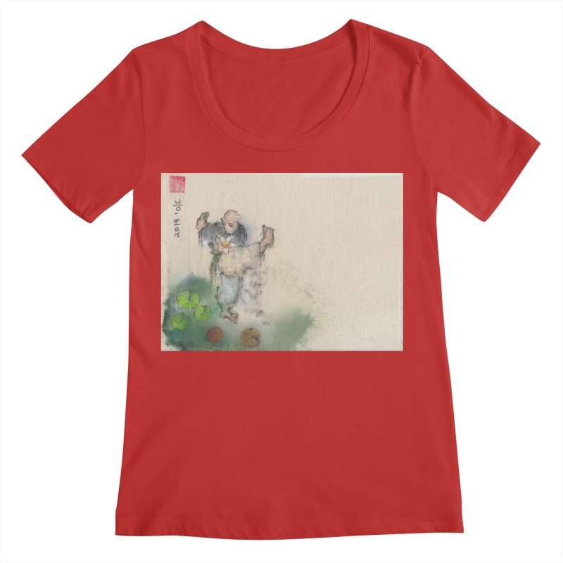Turn Body And Sweep Lotus With Leg Women's Regular Scoop Neck by arttaichi's Artist Shop